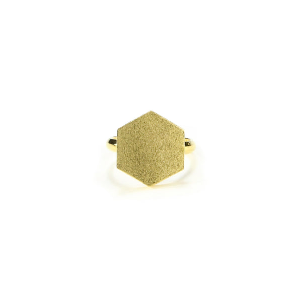 Gold Hex Cocktail Ring