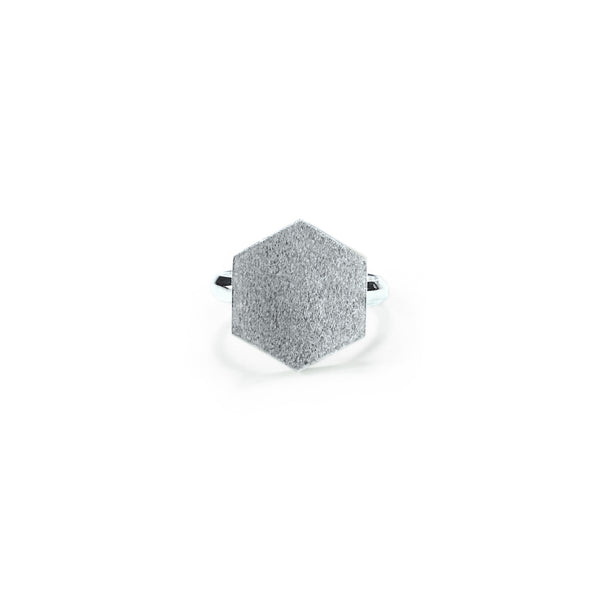 Silver Hex Cocktail Ring
