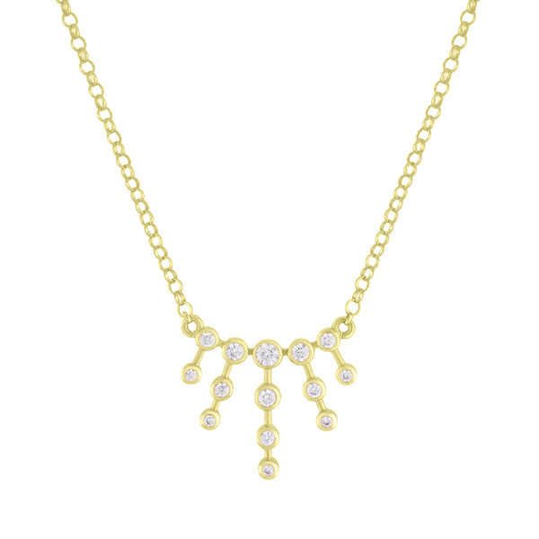 Gold Supernova Necklace with white topaz