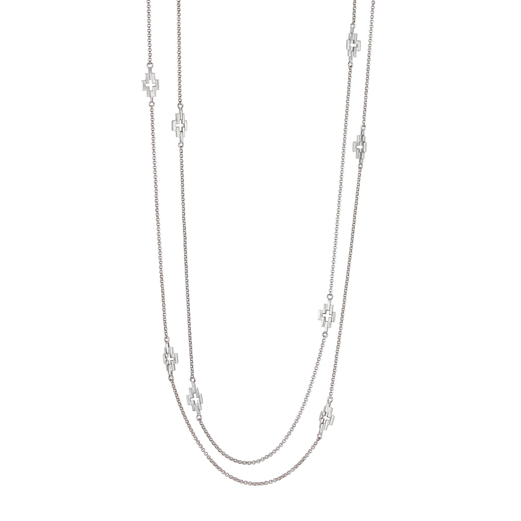 Silver Aura Station Necklace