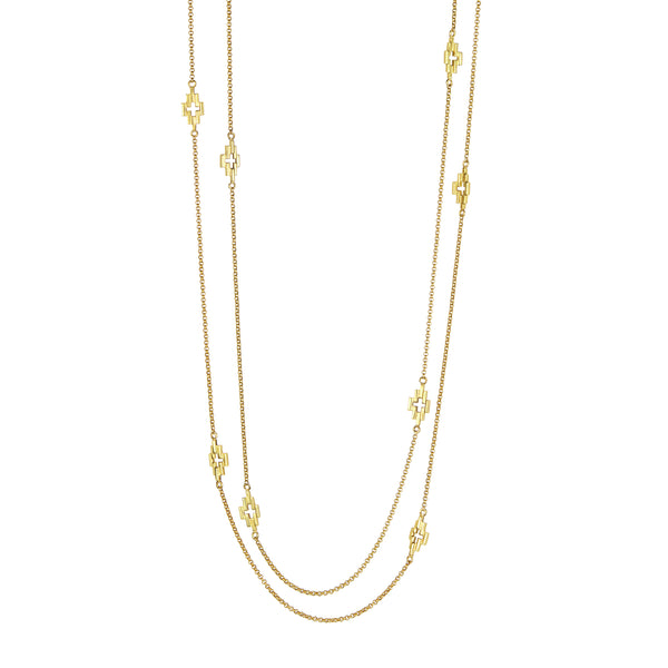 Gold Corona Station Necklace
