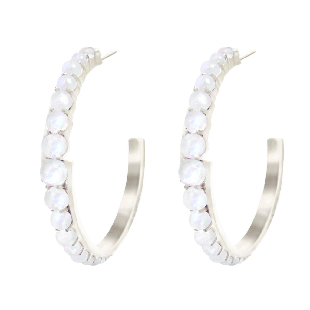Silver Andromeda Hoop Earrings with gemstones