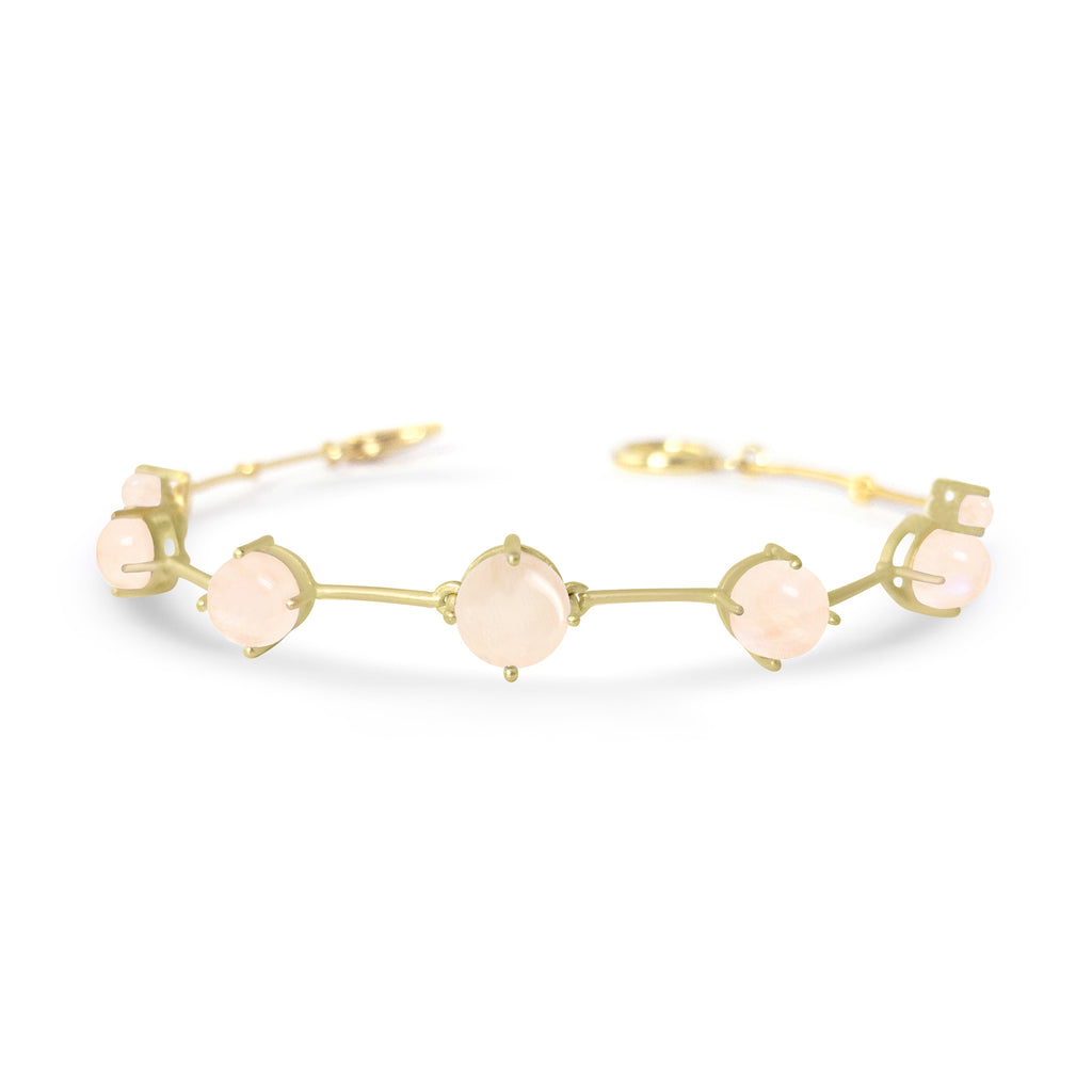 Gold Astraea Bracelet with Peach Moonstone