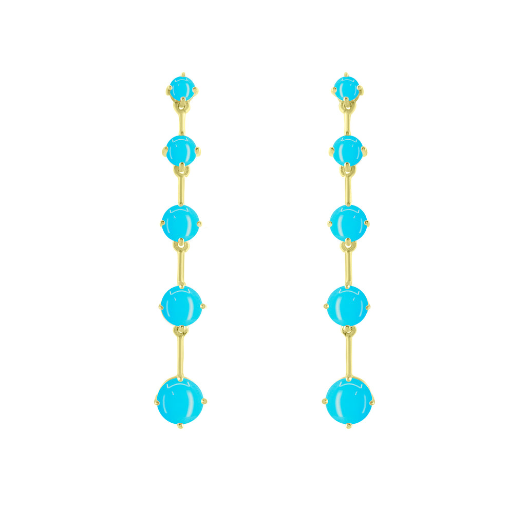 Gold Astraea Drop Earring with Turquoise
