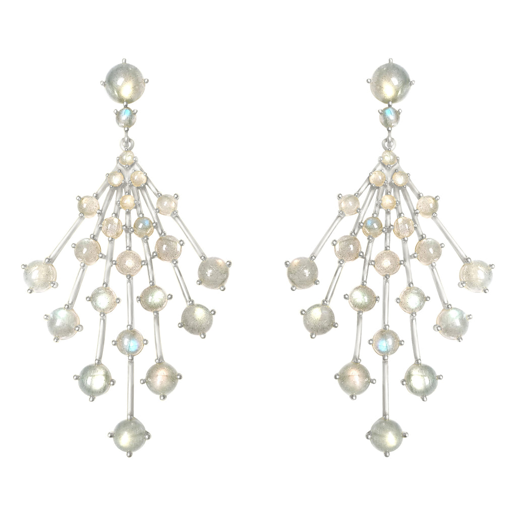Silver Astraea Burst Earring with gemstones