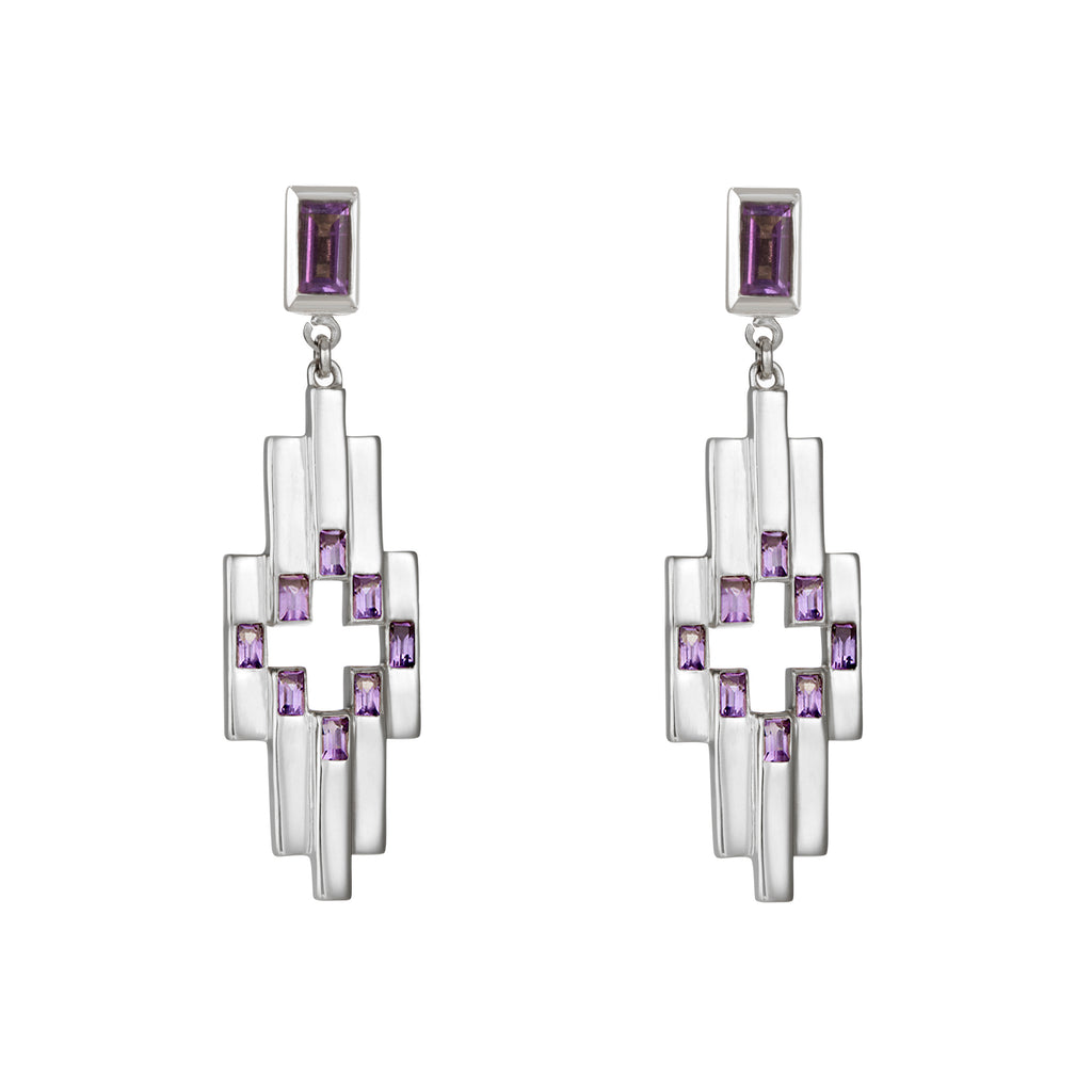 Silver Aurora Earrings with Amethyst