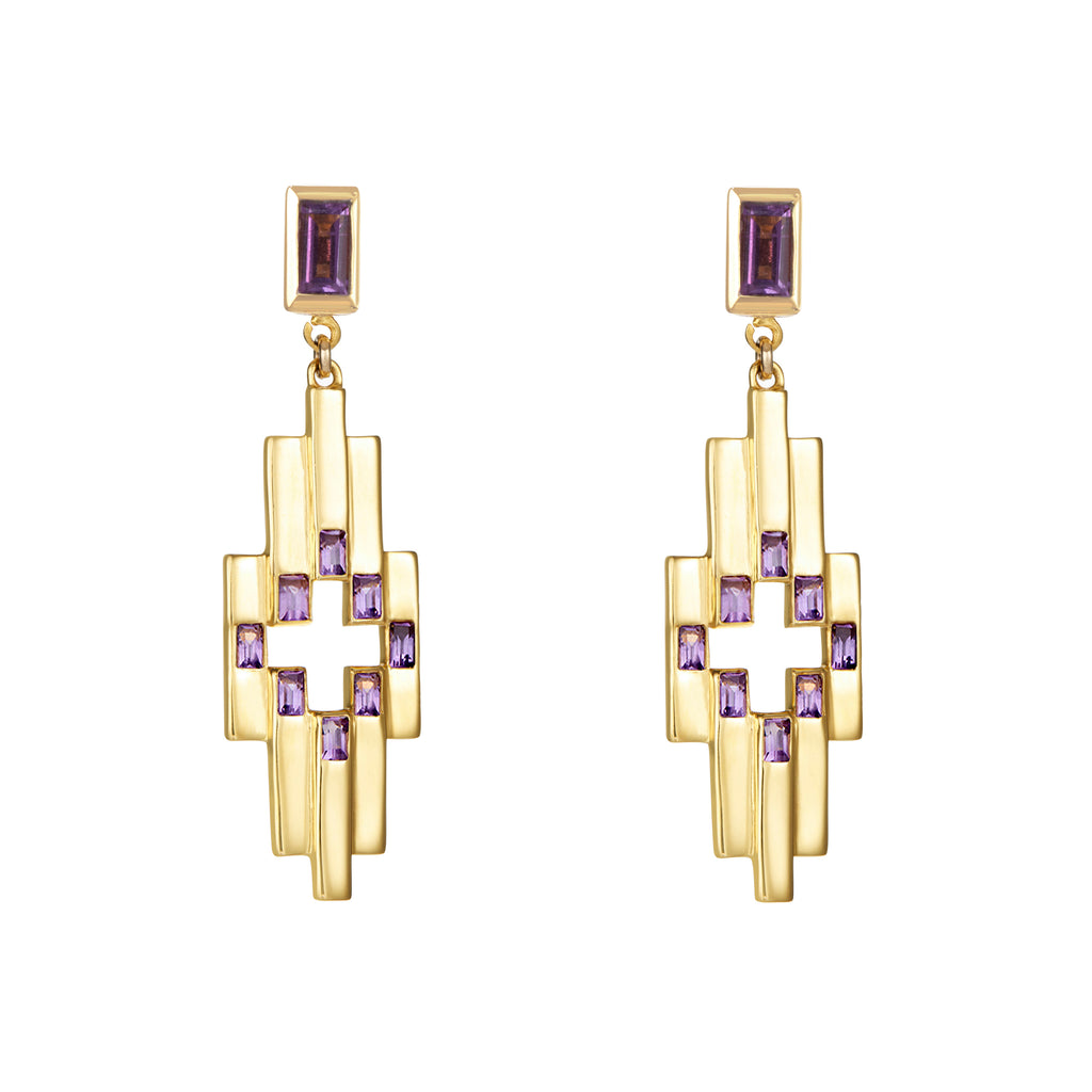 Gold Aurora Earrings with Amethyst