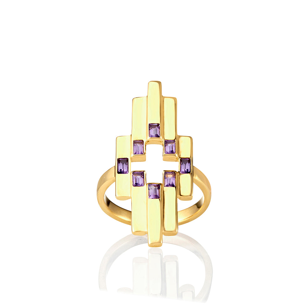 Gold Aurora Ring with Amethyst
