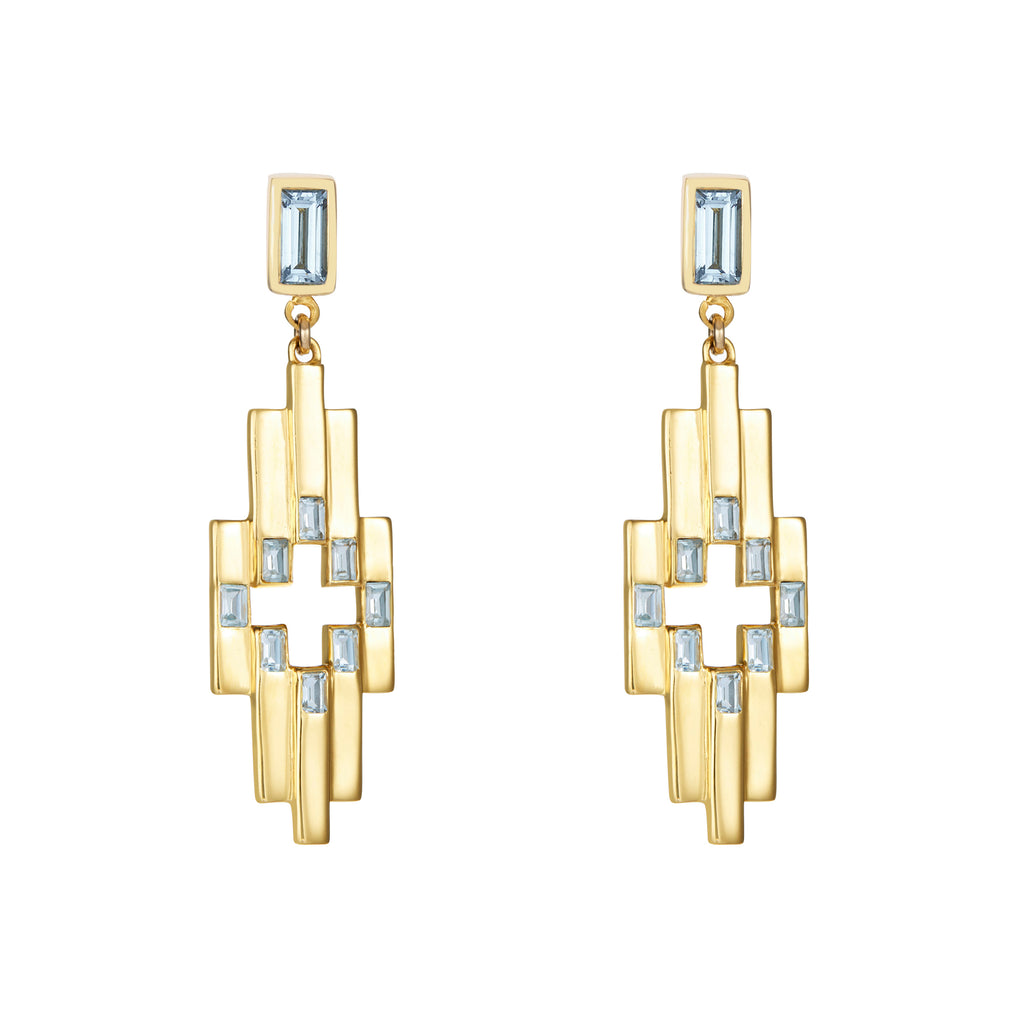 Gold Aurora Earrings with Gemstones
