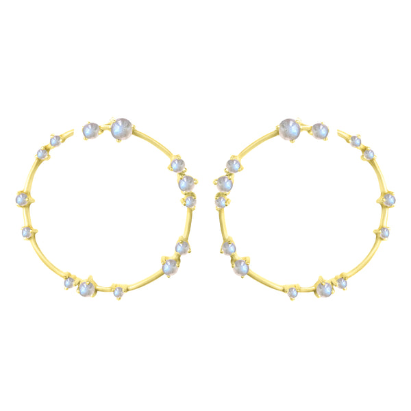 Gold Coeus Hoop Earrings with gemstones