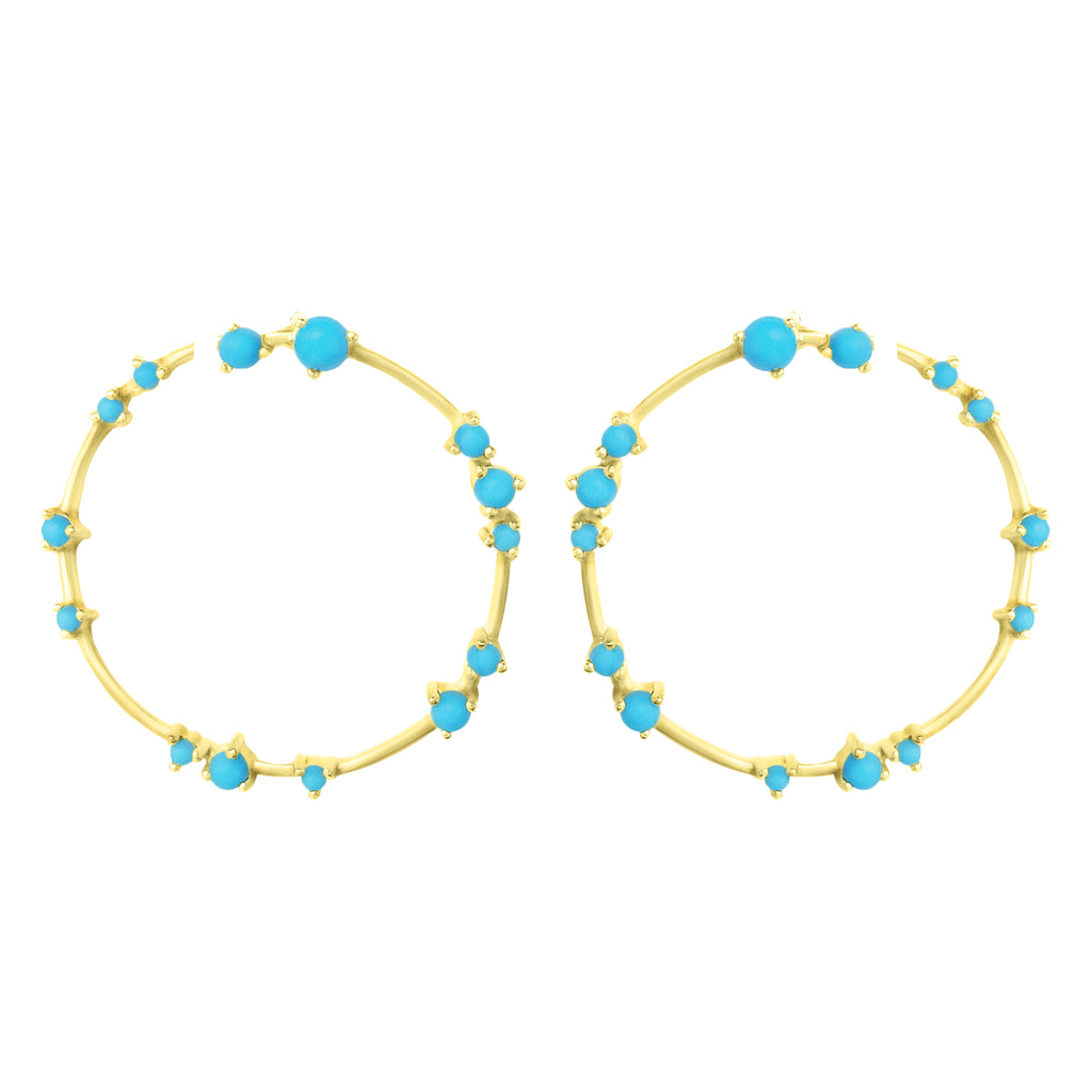 Gold Coeus Hoop Earrings with Turquoise