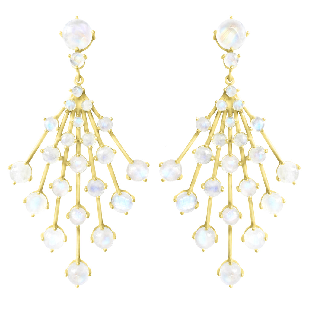 Gold Astraea Burst Earring with gemstones