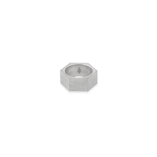 Silver Hex Quarterback Ring