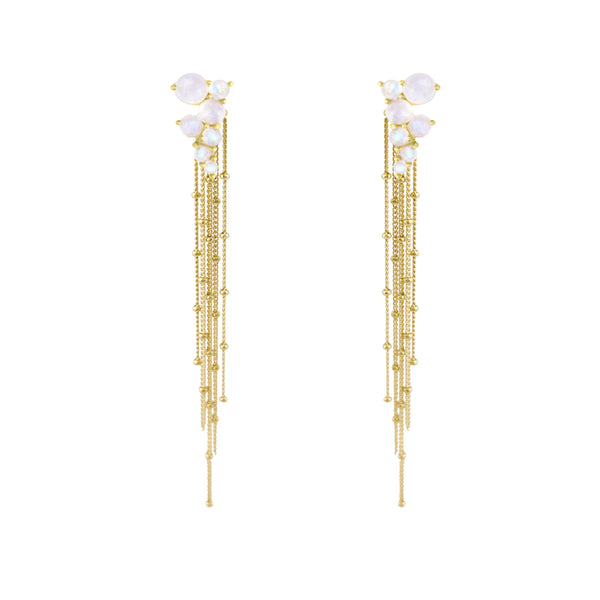 Gold Via Lactea Tassel Stud with gemstones
