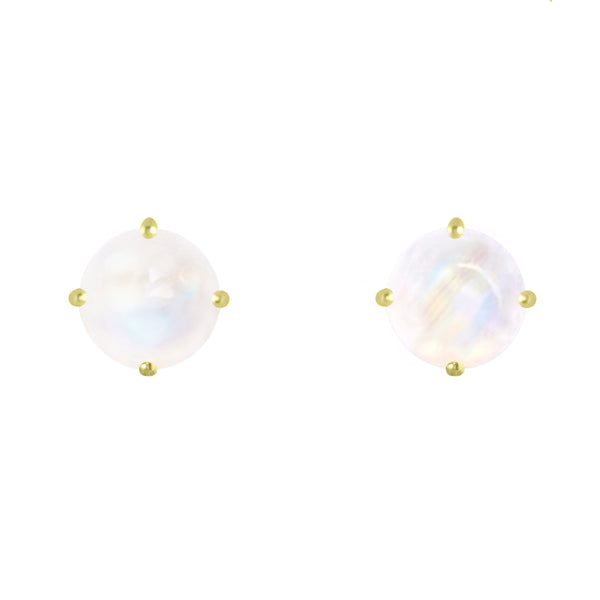 Gold Coeus Stud earrings with Rainbow Moonstone
