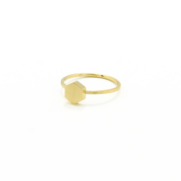 Gold Hex Midi/Pinkie Ring