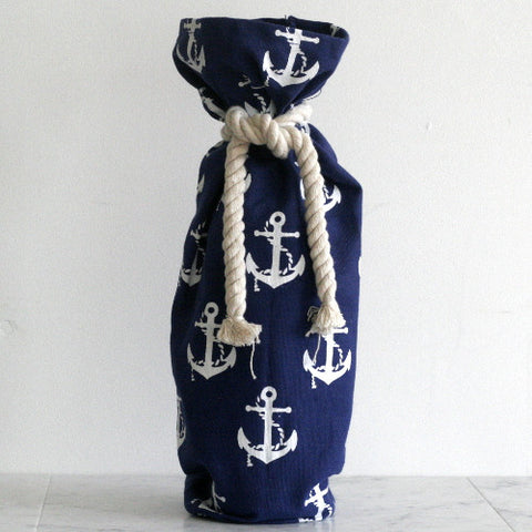 Canvas Wine Sack - Blue Anchor Print