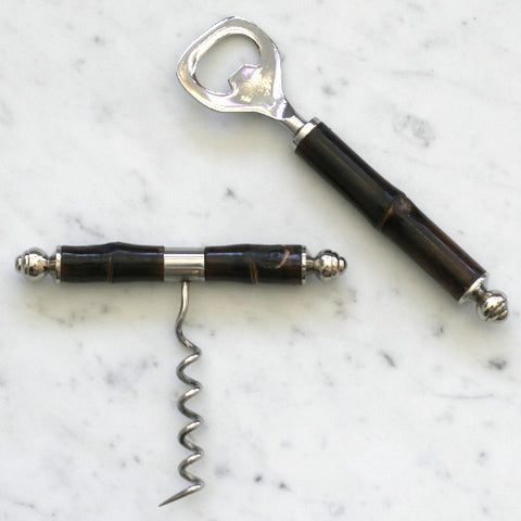 Silver Plated and Bamboo Bottle Opener & Corkscrew Set
