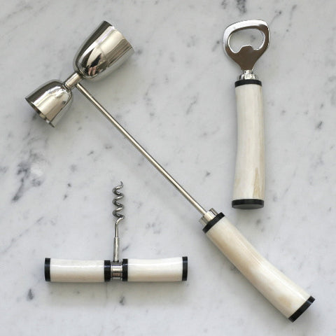 Bone-Handled 3 Piece Bar Set