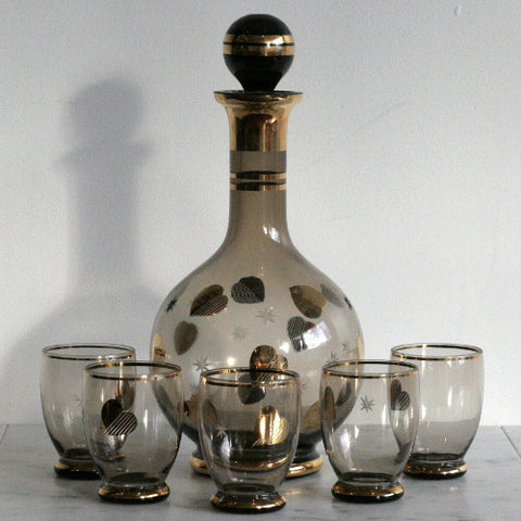 Gold Heart Decanter Set with Tasting Glasses - Set of 4