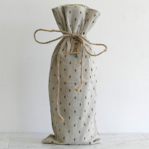 Canvas Wine Sack - Cream and Gold