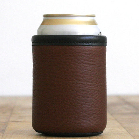 Whiskey-Coloured Bison Leather Beer Koozie