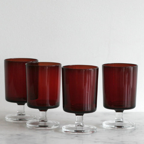 Red Stemmed Cocktail Glasses - Set of 4
