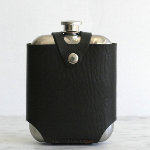 Stainless Steel Flask with Leather Travelling Case