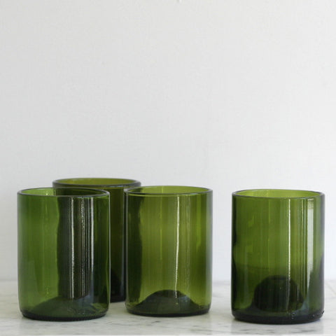 12oz Wine Punt Cocktail Glasses - Set of 4 Green