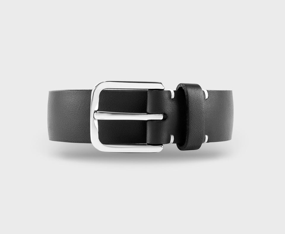 The Duke Black Hand Made Leather Belt From Upton Belts With Chrome Buckle