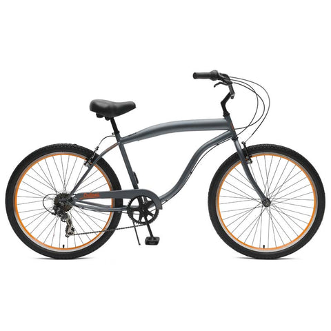 Critical Cycles - Chatham-7 Men's Beach Cruiser Bike Graphite and Orange, Critical Cycles - 1