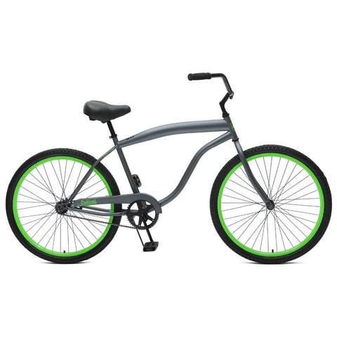 Critical Cycles - Chatham-1 Men's Single-Speed Beach Cruiser Bike Graphite and Green, Critical Cycles - 1