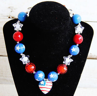 Patriotic Flag Chunky Necklace-Jewelry-CKCC-Cute Kids Clothing