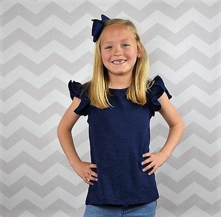 Navy Ruffled Flutter Top-Tops-CKCC-Cute Kids Clothing