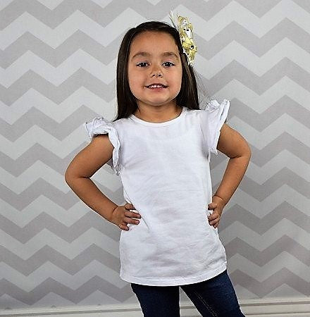 White Ruffled Flutter Top-Tops-CKCC-Cute Kids Clothing