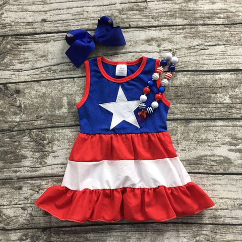 Fourth Of July Big Star Dress-Dresses-CKCC-Cute Kids Clothing
