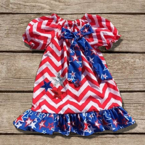 Chevron Star July 4th Ruffled Dress-Dresses-CKCC-Cute Kids Clothing