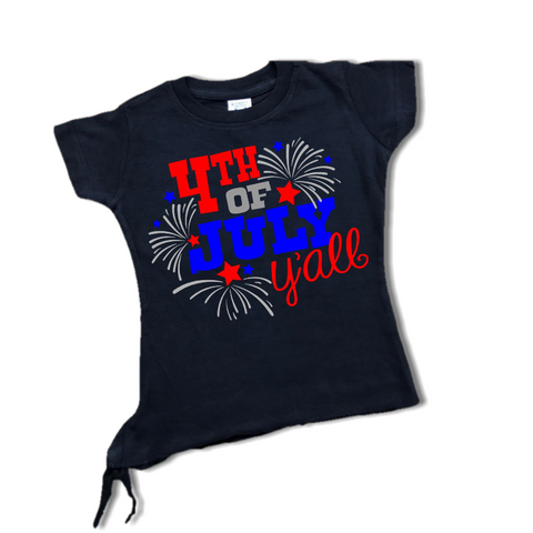 "Toddler Girl ""4TH OF JULY YA'LL"" Black T-Shirt-ringer t-shirt-Cute Kids Clothing Company-Cute Kids Clothing"