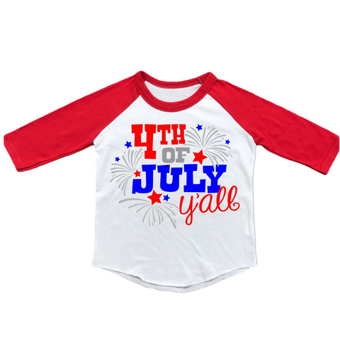 Toddler 4th Of July Ya'll Raglan T-Shirt-raglan t-shirt-Cute Kids Clothing Company-Cute Kids Clothing