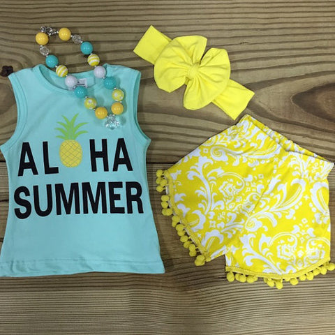 """Aloha Summer"" Pom Pom Outfit-Outfits & Sets-CKCC-Cute Kids Clothing"