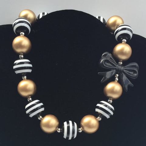 Black Bow Gold Bubblegum Chunky Necklace-Necklaces & Pendants-CKCC-Cute Kids Clothing