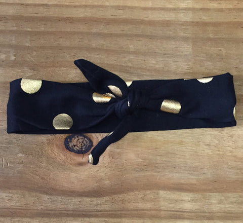 Black & Gold Dot Knotted Headband-Headband-CKCC-Cute Kids Clothing