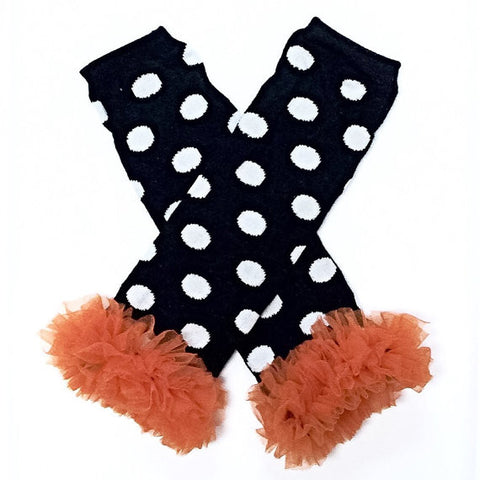 Black Polka Dot Leg Warmers with Orange Chiffon-Legwarmers-CKCC-Cute Kids Clothing