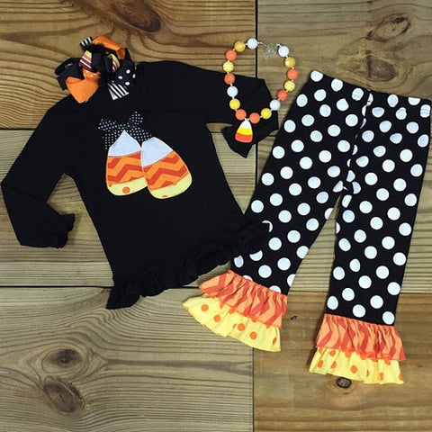 Black Polka Dot Candy Corn Outfit-Outfits & Sets-CKCC-Cute Kids Clothing