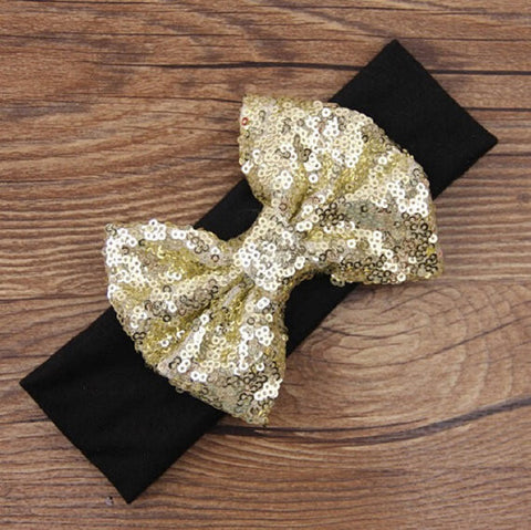 "Black 5"" Gold Sequin Bow Headband-Headband-CKCC-Cute Kids Clothing"