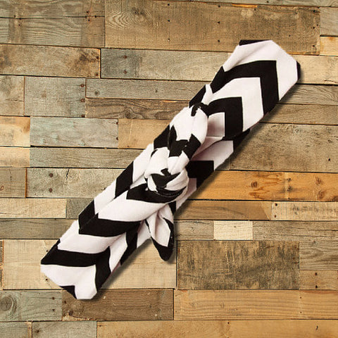 Black & White Chevron Knotted Headband-Headband-CKCC-Cute Kids Clothing