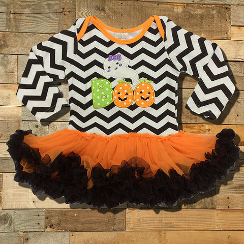 "Halloween Tutu Onesie, Chevron with ""Boo Applique""-Tutu Onesie-CKCC-Cute Kids Clothing"