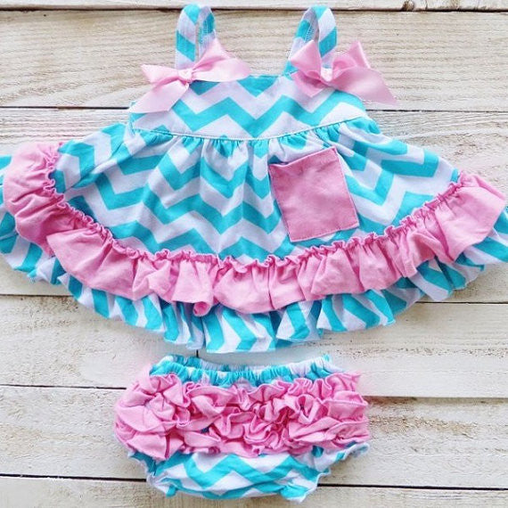 Pink & Blue Chevron Print Swing Top Set with Ruffled Bloomers-Swing Top Set-Cute Kids Clothing Company-Cute Kids Clothing