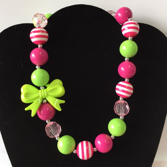 Pink Green Bow Necklace Bubblegum Necklace-Necklaces & Pendants-CKCC-Cute Kids Clothing