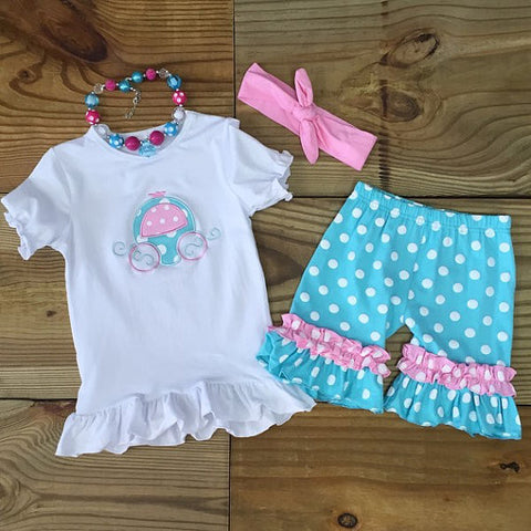 Pink & Blue Carriage Short Set-Outfits & Sets-CKCC-Cute Kids Clothing